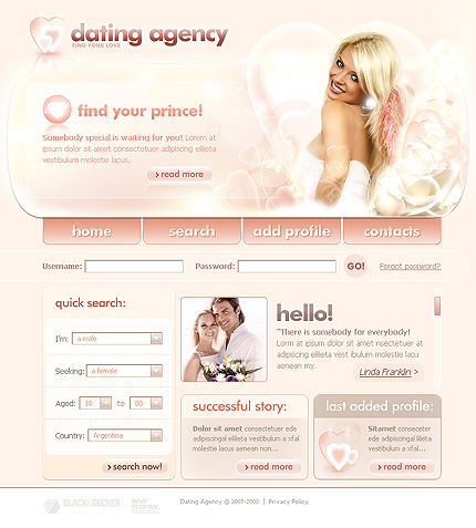 web site design dating templates Once you've purchased skadate dating software you get several free social networking and dating templates  on your dating site if you have web design.